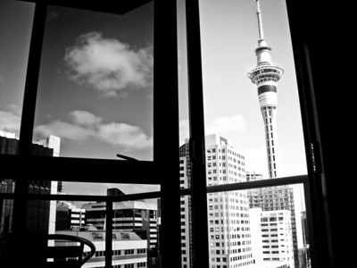 Black and white photo of the Sky Tower in Auckland, New Zealand