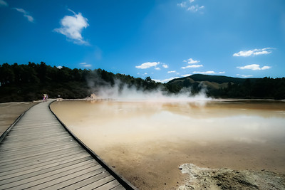 Footpath through the Rotorua sulphur lakes in New Zealand