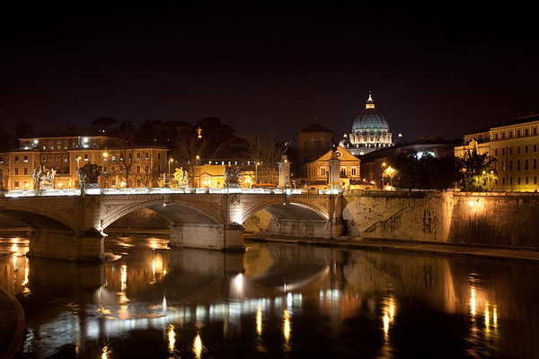 Nighttime on the Tiber River, Rome, Italy