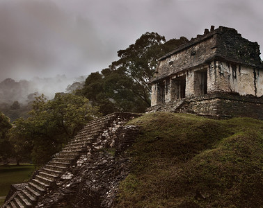 Misty Ancient Mayan Architecture, Palenque, Mexico