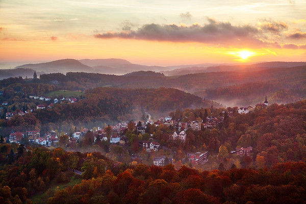 Fall Sunset and Mist over Countryside of Eisenach, Germany