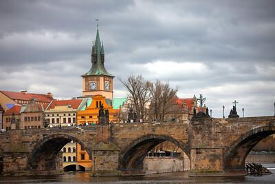 Cloudy day over the Vltava River, Prague, Czech Republic