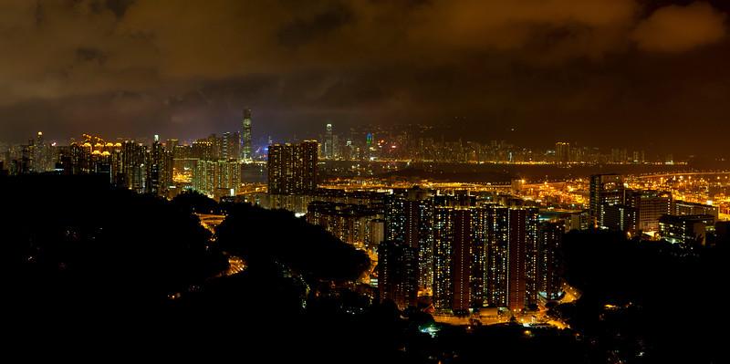 Night Lights of Skycrapper-studded Skyline, Hong Kong