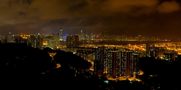 Night Lights of Skycrapper-studded Skyline, Hong Kong