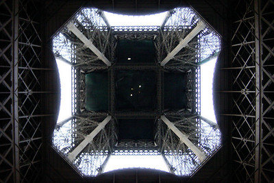 Eiffel Tower - looking up from the center of the base
