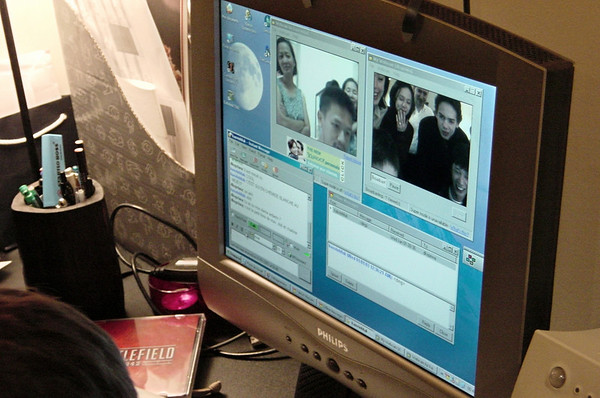 No, they're video conferencing with family in Vietnam!