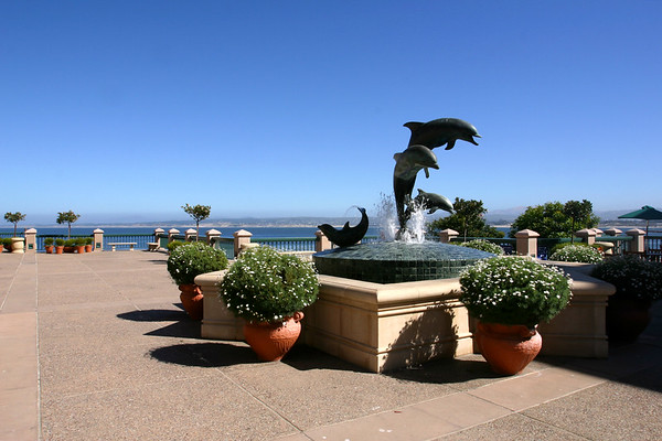 We find a dolphin fountain on the ocean-view side of the hotel...and a panoramic view of Monterey Bay