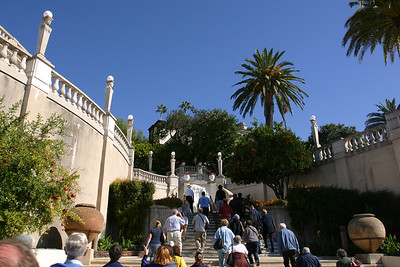 After the bus drops our tour group at the top of the hill, our guide leads us up the steps to a fountain