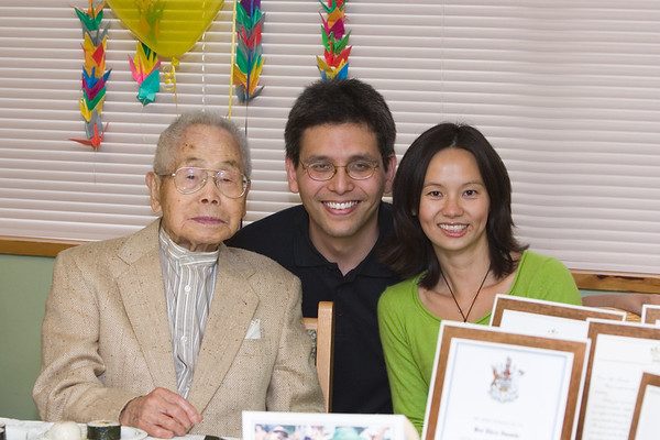 "Ojiichan, Eric, and Valerie. I can almost hear Master Iwasaki thinking, ""When one hundred years old YOU reach, look as good YOU will not, hmm?"""