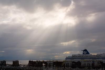 Rain clouds loom overhead as we board the ferry in Tsawwassen