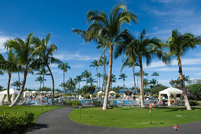 The pool area is surrounded by cabanas and palm trees
