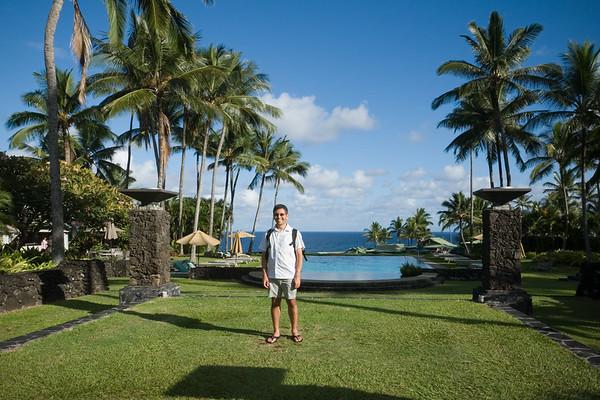 I stand near Hotel Hana-Maui's Wellness Pool