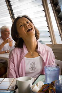 Even though it takes more than ten minutes to be seated, Valerie is happy...