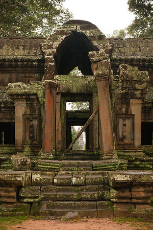 Angkor Wat's central tower framed by the gate's exterior