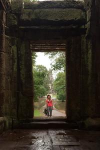 Valerie framed by the east gate's interior