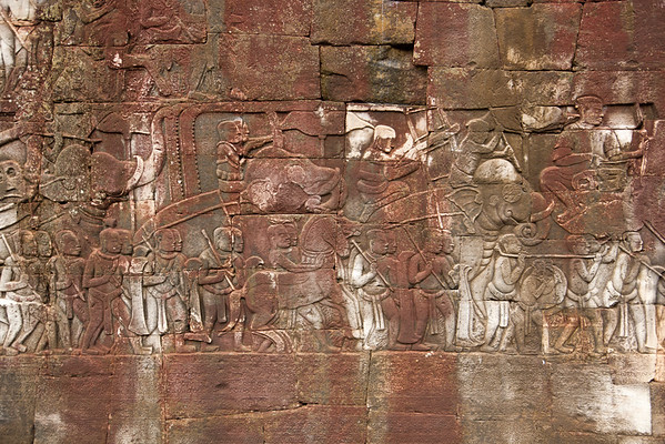 Bas-reliefs along Bayon's outer gallery are a bit more exposed to the elements than Angkor Wat's