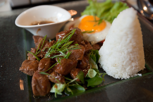 I order the beef lok lak...yum!  I wish I photographed the rice before and after they removed the cone.  (I learn later that this supposedly Khmer dish likely came over from Vietnam during the French Colonization)