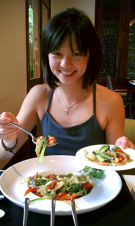 Valerie serves me some of her veggies, then requests a share of my dish. Has it been THAT long since I last ran?