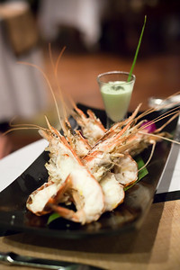 Valerie and I share an excellent starter...Steamed Mekong Lobser with Wasabi Lime Mayonnaise.