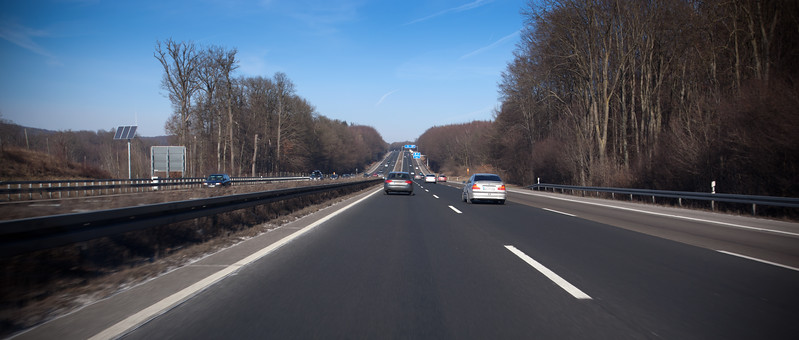 Traffic laws on the Autobahn are strictly followed...we never get passed by a car to our right.  If a faster car approaches from behind, we simply move to the right (unlike in L.A., no car suddenly accelerates to block such a lane change).