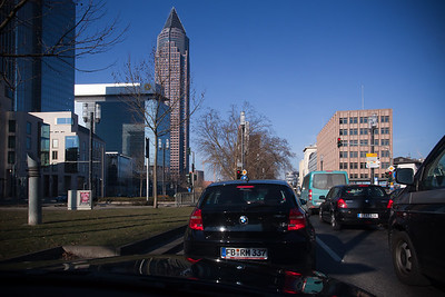 Stuck in traffic (behind a 1 Series Bimmer) as we approach the Messeturm