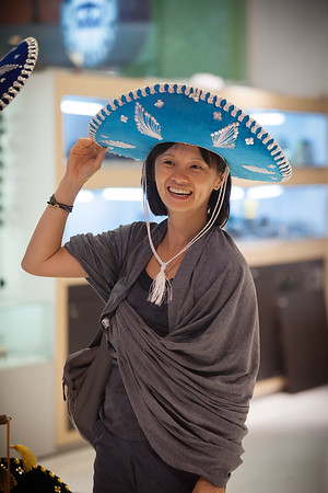 Valerie tries on a sombrero