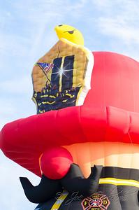 A fireman balloon commemorating the Sept. 11 terrorist attacks