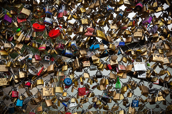 """Love locks"" on Pont des Arts"