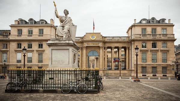 We walk toward the end of Rue de Bourgogne and cross Place du Palais Bourbon by the statue La Loi by Jean-Jacques Feuchère