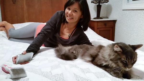 Valerie is happy Meeko looks so comfortable