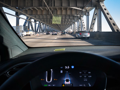 """Crossing the Bay Bridge via Autopilot.  NOTE:  """"Tire Pressure Low"""" indicator came on as we approached San Francisco on Monday night, but I was not concerned.  The drop was nearly uniform across all four tires, mostly likely due to the significantly lower temperatures up here.  So...I plan to pull into a gas station as soon as I get off the freeway.  Do you think I will receive disapproving looks as I pump air into my EV's tires?"""