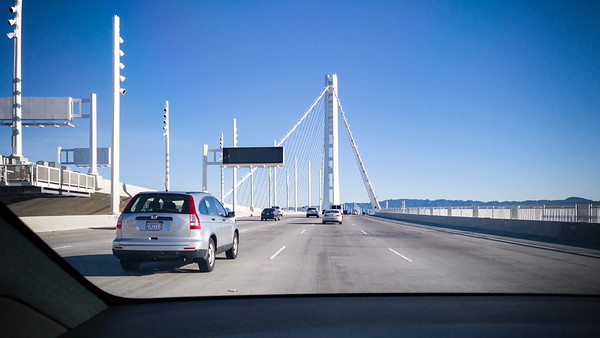 During our previous trip to the Bay Area, this new Eastern span of the Bay Bridge was not yet complete.  The design is much more modern...and somewhat scifi when lit up at night