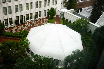 From our room, we can see The Terrace Courtyard/Tent