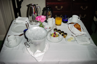 DAY 1 - Valerie and I enjoy breakfast in our room at The Ritz-Carlton, San Francisco.  This is our first time staying at this hotel.