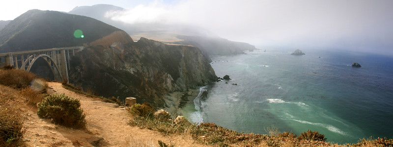 Though many complain how twisty Highway 1 gets approaching Big Sur, anyone driving a high performance sports car will surely be praising its many virtues (as long as there's good weather, no traffic, and no  construction) (Photostitched)