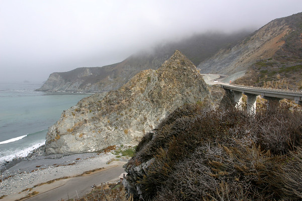 At times, fog forms a tunnel that just clears the tops of cars driving along Highway 1 (I wish I had a picture of that)