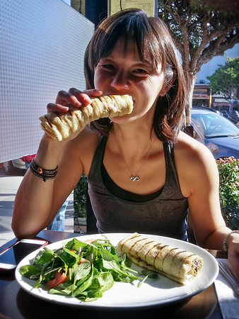 Their kebab wraps are generously sized...Valerie and I should have shared an order since we also had soup