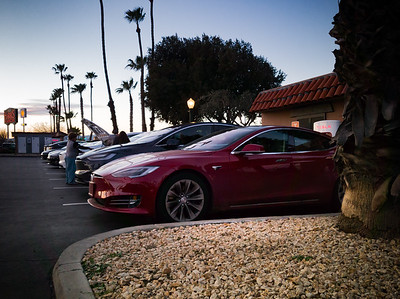 Due to traffic, an increasing need for a pit stop, and growing concern we won't reach the Gilroy Supercharger with our current charge, we make an unscheduled stop at the Harris Ranch Supercharger.  Unfortunately, we have to wait 10 minutes for a space to open up.