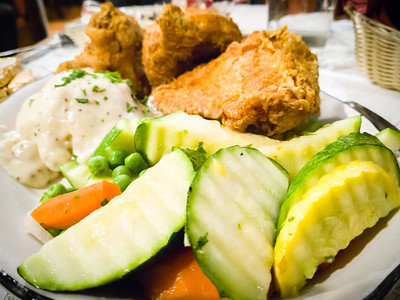 Valerie and I share a dinner of vegetables, mashed potatoes and gravy...with a side of fried chicken