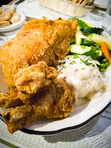Surprisingly, their fried chicken is quite good and the portion is generous (half a chicken).  The skin is crispy and even the white meat is pretty juicy.