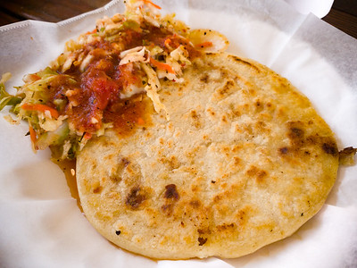 Pork and cheese pupusa.  Overall, I think I prefer pupusas from L.A.'s Vchos Food Truck...but Titas' offering has a crispy edge that I do like