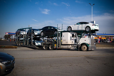 Seems appropriate that we see a transport carrying new Teslas during our first roadtrip in ours