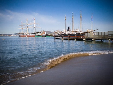 From this beach, I can see1886 square-rigged Balclutha, 1914 paddlewheel tug Eppleton Hall, 1890 steam ferryboat Eureka.