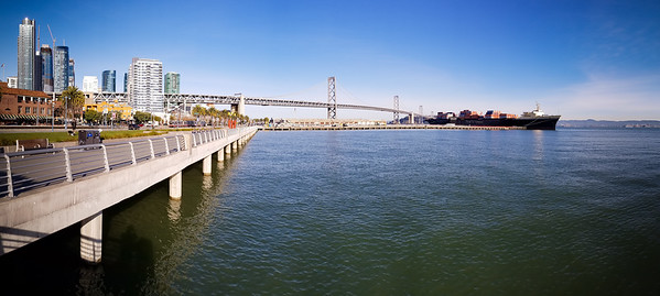 When I reach The Embarcadero I decide to first turn south, mainly so I can get some photos from the sunlit side of the San Francisco - Oakland Bay Bridge.  This is probably the best panorama I can snap from this side of the bridge.
