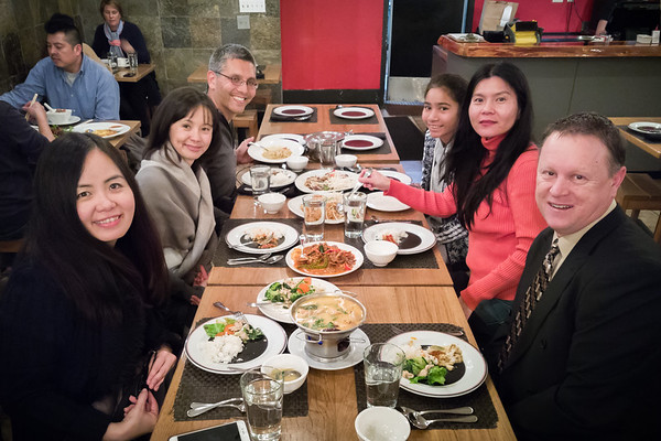 Tonight's dinner group: JoAn, Valerie, Eric, Mai, Phuong, and Mike  (You can see in this picture that we also shared an order of Tom Yum Koong.  We would have ordered mango sticky rice for dessert, but they did not have it today)