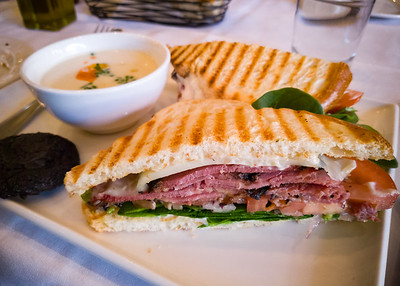 Chef's Daily Soup Sandwich and Treat: potato leak soup, pastrami on sourdough, homemade chocolate cookie