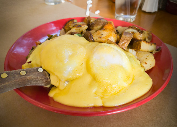 """Of course Valerie would order something called """"Green Goddess"""" (which, in this case, is an order of Eggs Benedict with Roadside Potatoes)"""