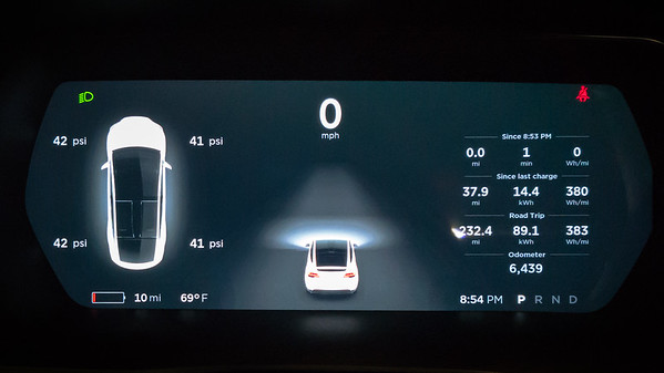 This is the lowest I've let my battery get yet...but, if you look at my Road Trip totals, I could have made the entire trip without stopping to charge (I have a 90kWh battery, but only consumed 89.1kWh of juice)!  The thing to note is that I started this journey with 260+ rated miles, traveled 232.4 actual miles, but twice dropped into the 10-20 rated miles remaining.  I cannot ever exceed 65 miles per hour if I want to achieve parity with the rated mile estimates.