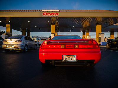 Topping up the tank at Costco in Richmond, CA