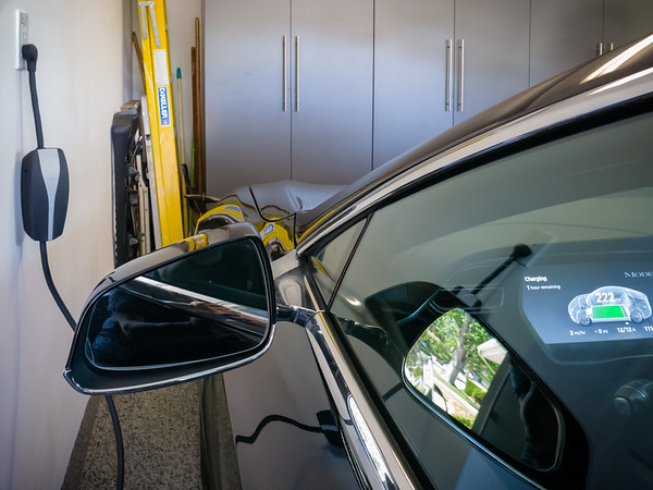 This is the first time I have plugged an EV into a 110V outlet.  I figure it does not take much to keep our loaner Model S charged while we are gone...and we can leave Valerie's Model 3 plugged into our NEMA 14-50 outlet.